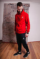 Спортивный костюм мужской красный Nike Jordan, натуральный хлопок + полиэстер   Спортивный костюм весенний
