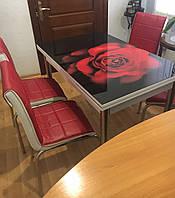 """Розкладний стіл обідній кухонний комплект стіл і стільці 3D малюнок 3д """"Червона троянда"""" ДСП скло 70*110 Лотос-М, фото 1"""
