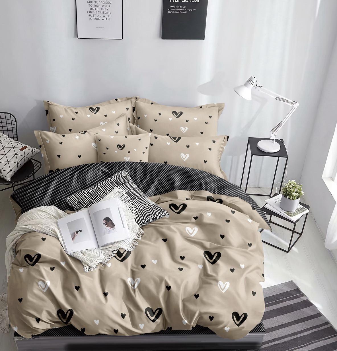 Комплект постельного белья бежевый из микросатина Евро.