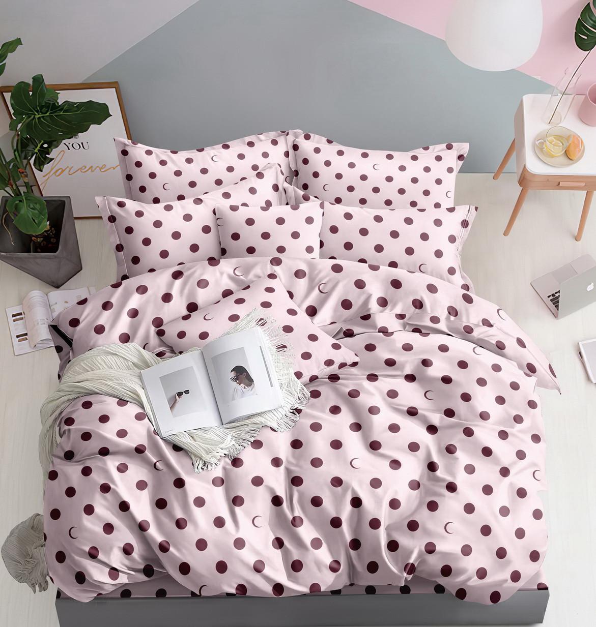 Комплект постельного белья розовый из микросатина Евро.