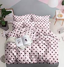 Комплект постільної білизни рожевий з микросатина Євро.