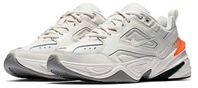 Женские кроссовки Nike M2K Tekno, белые с оранжевым / женские кроссовки Найк Текно (Топ реплика ААА+)