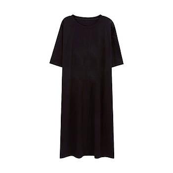 Модное однотоннее платье оверсайз с приспущенным рукавом черного цвета (базовый гардероб) ТМ СДВУ модель SD3