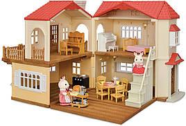 Sylvanian Families Загородный дом с красной крышей 2 фигурки со светом и мебелью 5383 Calico Critters CC1797