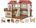 Sylvanian Families Загородный дом с красной крышей 2 фигурки со светом и мебелью 5383 Calico Critters CC1797, фото 3