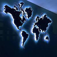 Карта мира с печатью на оргстекле и подсветкой по контуру XS-1000x600мм
