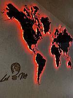 Карта мира с печатью на оргстекле и подсветкой по контуру M-1500x900мм