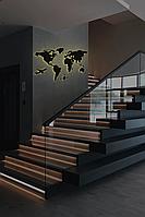 Пластиковая карта Мира с подсветкой Led Map XS-1000x600мм Черная