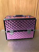 Чемодан-кейс для косметики с металлическим корпусом 255, розовый