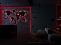 Пластиковая карта Мира с подсветкой Led Map L-1700х1000 мм Черная