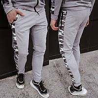 Спортивные штаны мужские на манжетах весна-осень, молодежные спортивные серые брюки из двунитки