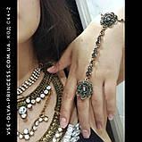 Браслет і ланцюжок з кільцем слейв під античне золото з темно-сірими каменями, фото 5