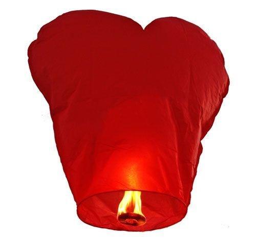Небесний ліхтарик у формі серця (червоний) 85*45 см.
