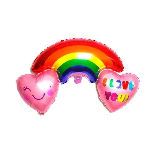 "Фольнована кулька веселка з сердечками ""Love you"""