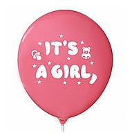 """Латексна кулька 12"""" рожева бабл гам з малюнком """"It's a Girl"""" (КИТАЙ)"""
