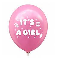 """Латексна кулька 12"""" рожева з малюнком """"It's a Girl"""" (КИТАЙ)"""