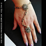 Браслет цепочка с кольцом слейв под античное золото с темно-серыми камнями, фото 4