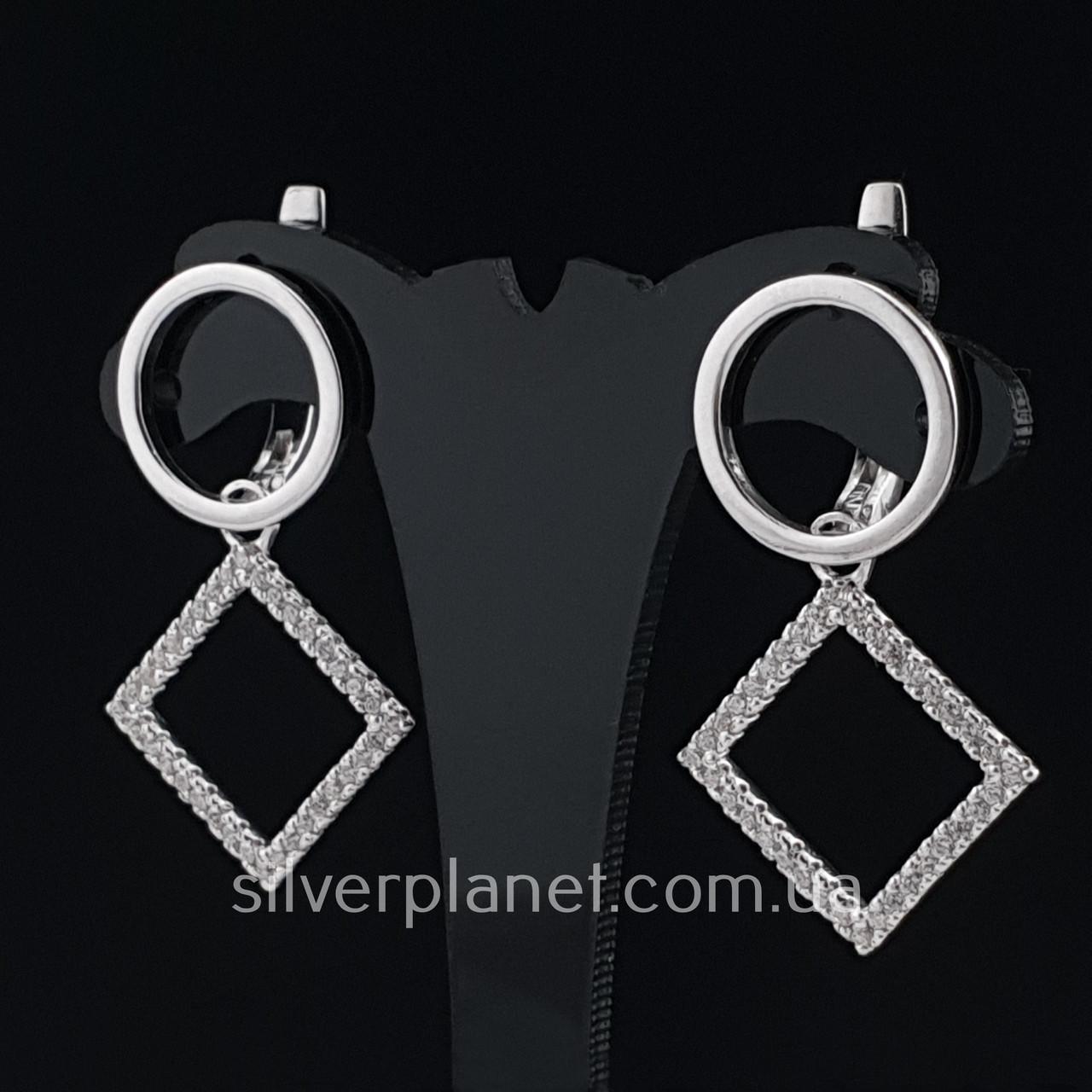 Срібні сережки підвіски висячі з камінням (фіанітами). Сережки геометрія срібло 925 - покриття родій.