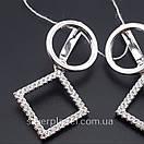 Срібні сережки підвіски висячі з камінням (фіанітами). Сережки геометрія срібло 925 - покриття родій., фото 7