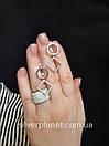 Срібні сережки підвіски висячі з камінням (фіанітами). Сережки геометрія срібло 925 - покриття родій., фото 4