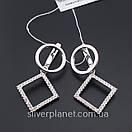 Срібні сережки підвіски висячі з камінням (фіанітами). Сережки геометрія срібло 925 - покриття родій., фото 6