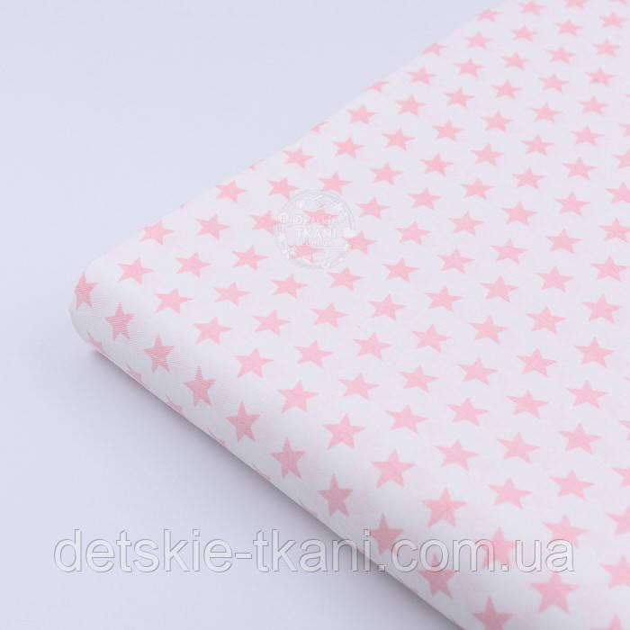 """Сатин тканина """"Однакові густі зірочки 12 мм"""" рожеві на білому, № 2239с"""