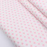 """Сатин тканина """"Однакові густі зірочки 12 мм"""" рожеві на білому, № 2239с, фото 2"""
