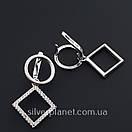 Срібні сережки підвіски висячі з камінням (фіанітами). Сережки геометрія срібло 925 - покриття родій., фото 10