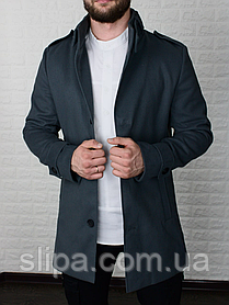Мужское стильное пальто из кашемира на стеганном подкладе
