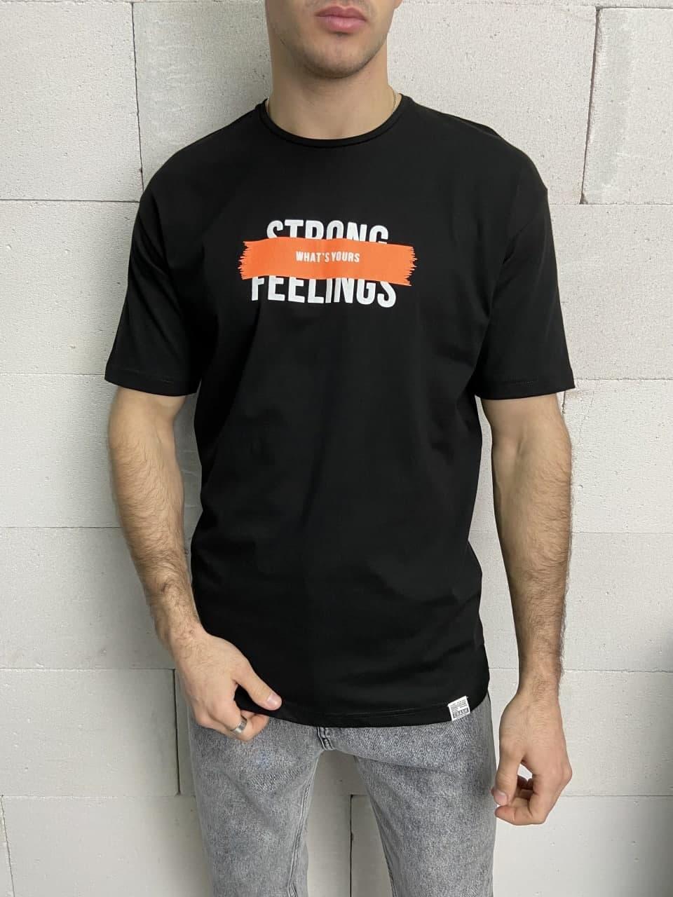 Чоловіча футболка чорна Strong Feelings