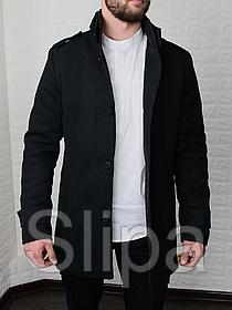 Мужское стильное пальто из кашемира на стеганном подкладе, чёрное
