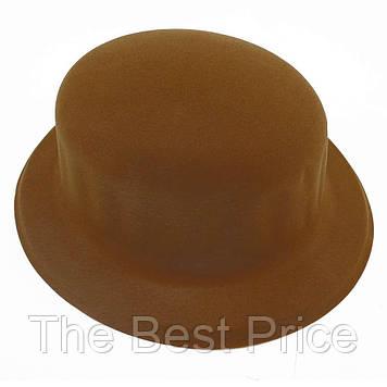 Шляпа Котелок флок (коричневая)