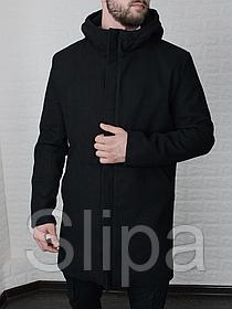 Мужское стильное пальто из кашемира с капюшоном чёрное , без утеплителя