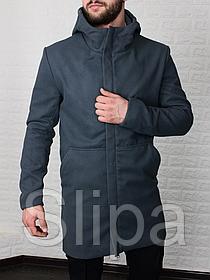 Мужское стильное пальто из кашемира с капюшоном серое , без утеплителя