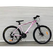 """Гірський велосипед з алюмінієвою рамою TopRider 680 26"""" Біло-рожевий"""