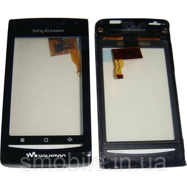 Сенсорный экран Sony Ericsson E16i/W8 черный с рамкой (оригинал Китай)