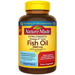 Nature Made Extra Strength Fish Oil 2800 mg суперконцентрірованний риб'ячий жир 2000 мг Омега-3 на порцію 60 ЖК