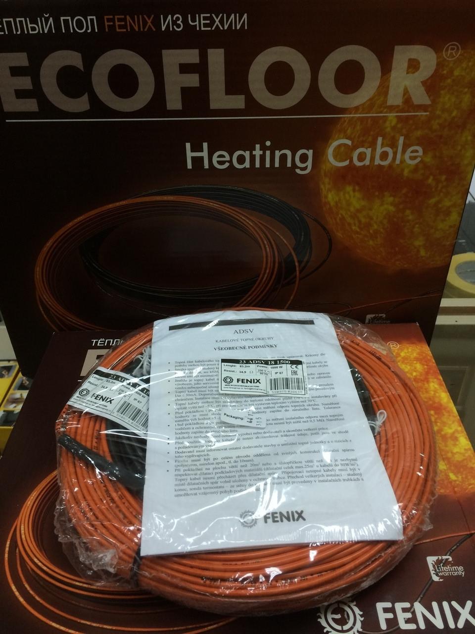 8 м2 Нагревательный кабель 69м 1200Вт Fenix Ecofloor ADSV18