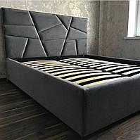 Двуспальная кровать с мягким изголовьем в виде разнообразных линий