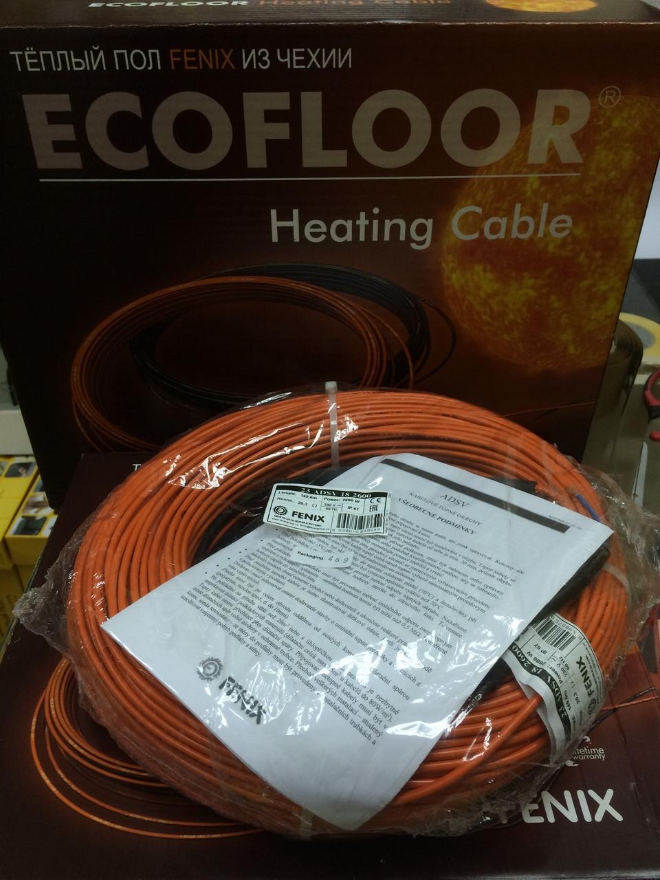 10 м2 Нагревательный кабель 83м 1500Вт Fenix Ecofloor ADSV18 Чехия для теплого пола 8,3м.кв под плитку