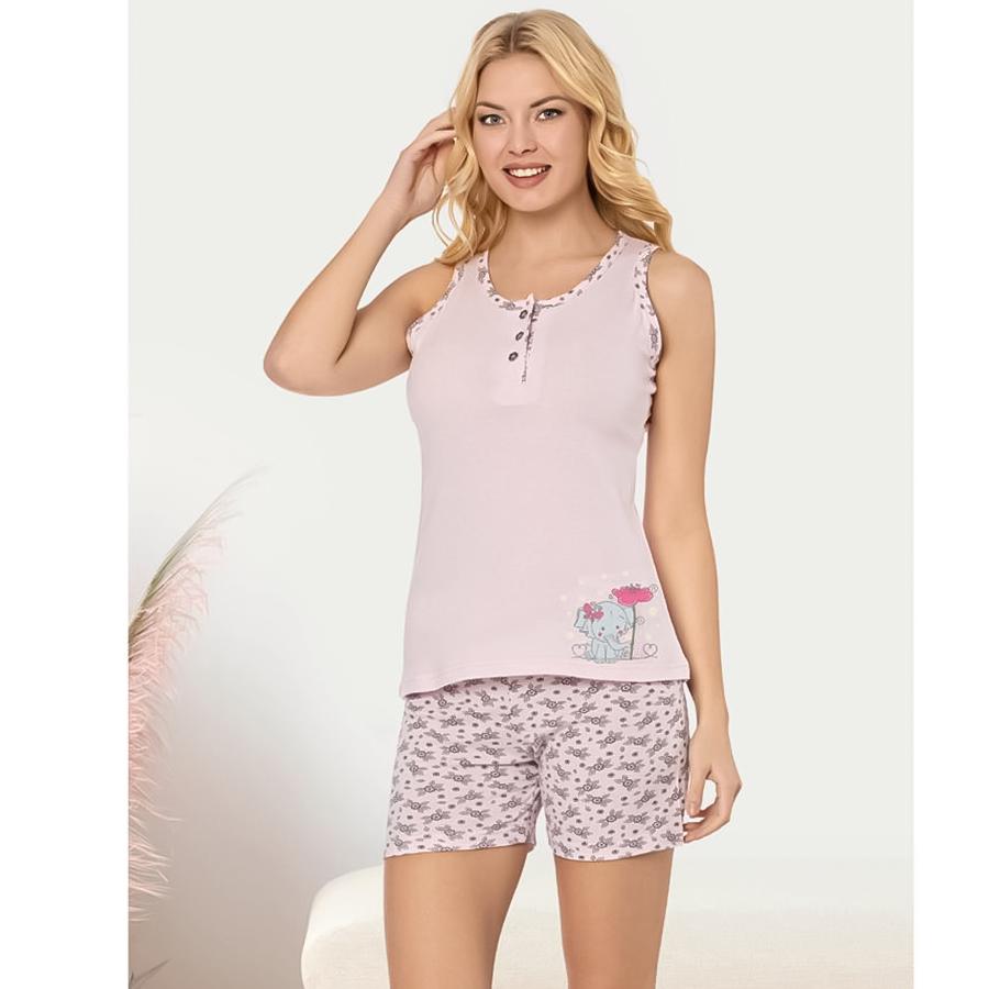 Пижама женская хлопковая майка с шортиками Seyko слоник