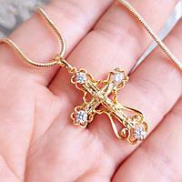 Крестик 3.5см xuping с цепочкой 1мм 50см медицинское золото позолота 18К к343