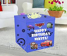 Коробка-сюрприз велика 70х70см (Тачки Маквин) +наклейки + напис і декор (колір коробки може бути різний)