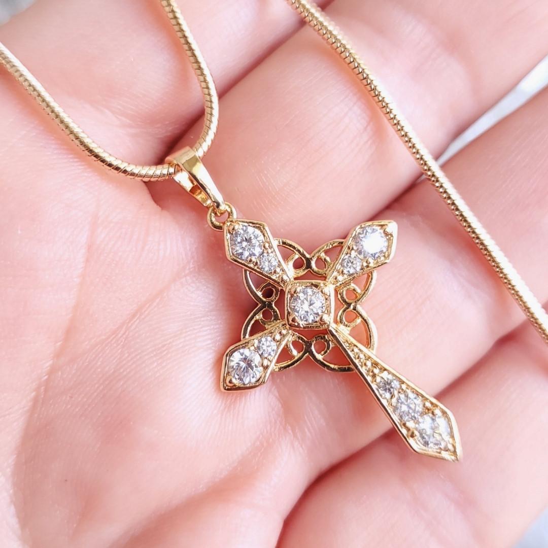 Хрестик 3.7см xuping з ланцюжком медичне золото позолота 18К к344