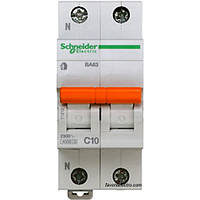 Автомат 2П 10A C Schneider Electric Домовой 11212