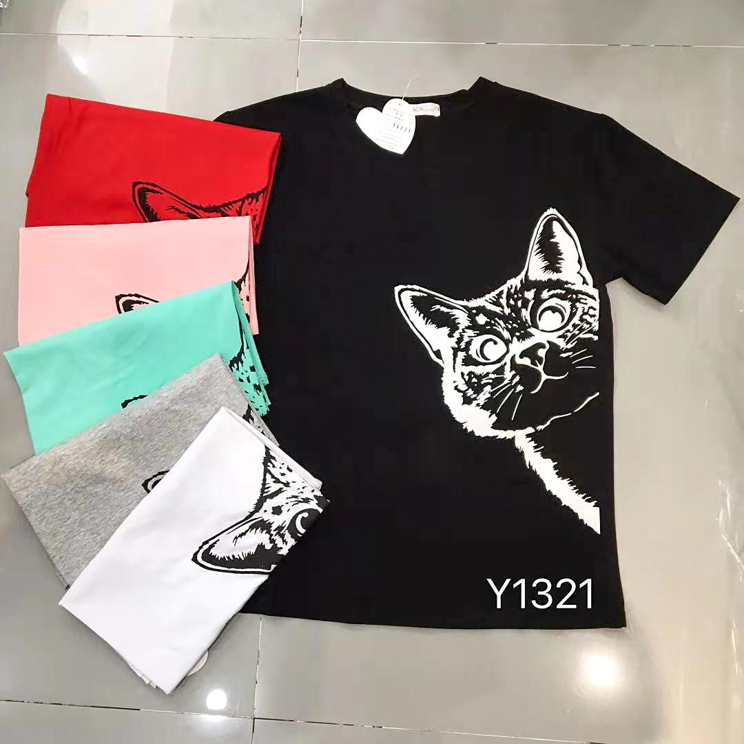Модная женская футболка с котиком 46-50 (в расцветках)