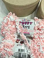 Плюшевая пряжа петельками для вязания руками Ализе пуффи Море Alize Puffy More розовый + белый