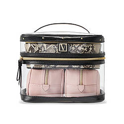 Набір Косметичок Victoria's Secret Train Case, 4 в 1 Рожева з питоном