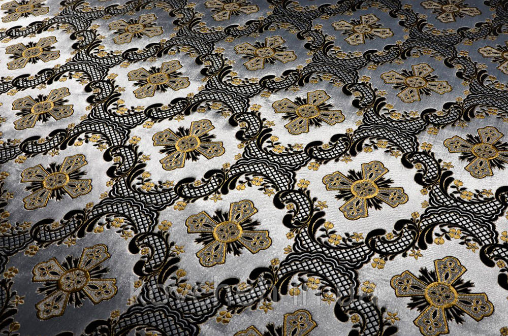 Шелковая церковная ткань  Элеон серебро шелк с черным