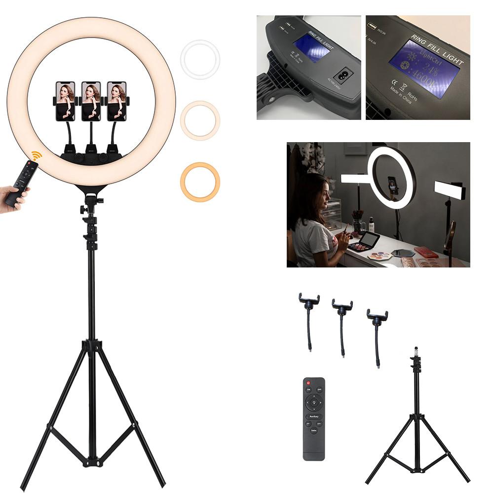 Кільцева лампа для фото 55 см на штативі 2м Професійний кільцевої світло Лампа блогера з пультом та дисплеєм